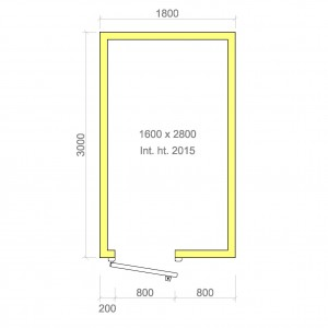 100mm walk in cold room with floor 1600mm x 2800mm x 2015mmh