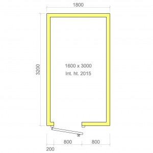 100mm walk in cold room with floor 1600mm x 3000mm x 2015mmh