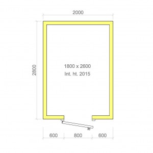 100mm walk in cold room with floor 1800mm x 2600mm x 2015mmh