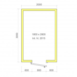 100mm walk in cold room with floor 1800mm x 2800mm x 2015mmh