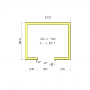 100mm walk in cold room with floor 2000mm x 1600mm x 2015mmh
