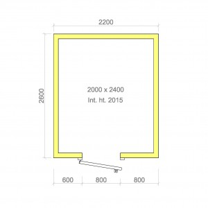 100mm walk in cold room with floor 2000mm x 2400mm x 2015mmh