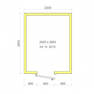 100mm walk in cold room with floor 2000mm x 2600mm x 2015mmh