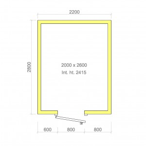 100mm walk in cold room with floor 2000mm x 2600mm x 2415mmh
