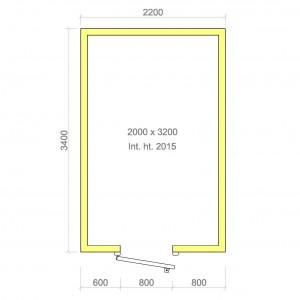 100mm walk in cold room with floor 2000mm x 3200mm x 2015mmh
