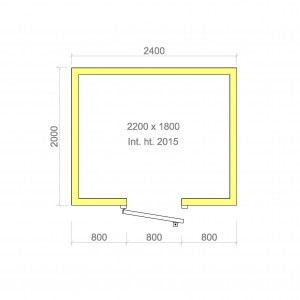 100mm walk in cold room with floor 2200mm x 1800mm x 2015mmh