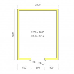 100mm walk in cold room with floor 2200mm x 2800mm x 2015mmh