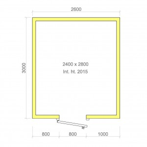 100mm walk in cold room with floor 2400mm x 2800mm x 2015mmh