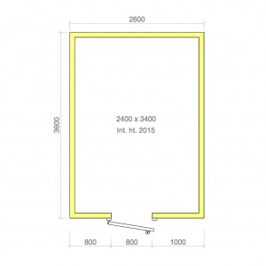 100mm walk in cold room with floor 2400mm x 3400mm x 2015mmh