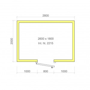 100mm walk in cold room with floor 2600mm x 1800mm x 2215mmh