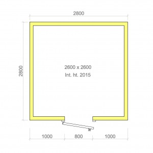 100mm walk in cold room with floor 2600mm x 2600mm x 2015mmh