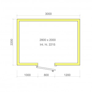 100mm walk in cold room with floor 2800mm x 2000mm x 2215mmh