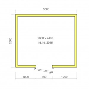 100mm walk in cold room with floor 2800mm x 2400mm x 2015mmh