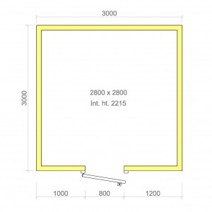 100mm walk in cold room with floor 2800mm x 2800mm x 2215mmh