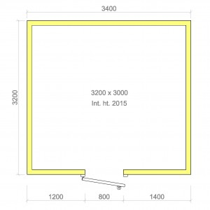 100mm walk in cold room with floor 3200mm x 3000mm x 2015mmh