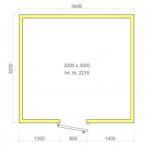 100mm walk in cold room with floor 3200mm x 3000mm x 2215mmh