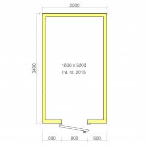 100mm walk in cold room without floor 1800mm x 3200mm x 2015mmh