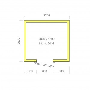 100mm walk in cold room without floor 2000mm x 1800mm x 2415mmh