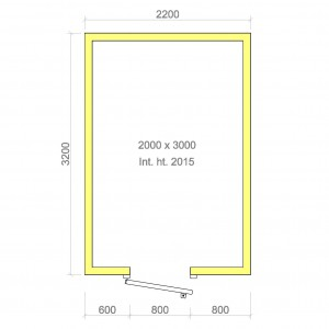 100mm walk in cold room without floor 2000mm x 3000mm x 2015mmh