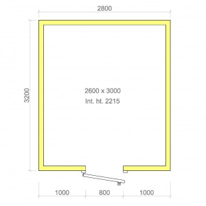 100mm walk in cold room without floor 2600mm x 3000mm x 2215mmh