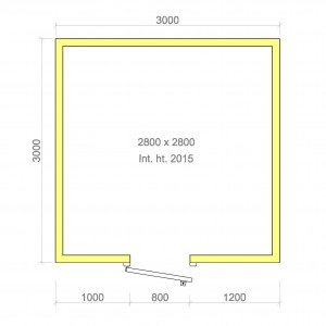 100mm walk in cold room without floor 2800mm x 2800mm x 2015mmh