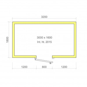 100mm walk in cold room without floor 3000mm x 1600mm x 2015mmh