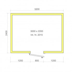 100mm walk in cold room without floor 3000mm x 2200mm x 2015mmh
