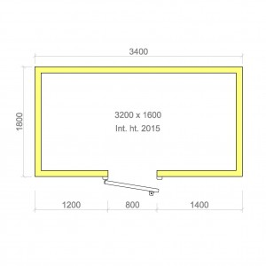 100mm walk in cold room without floor 3200mm x 1600mm x 2015mmh