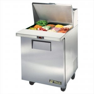 True TSSU-27-12M-C one-door sandwich prep table mega-top refrigerator