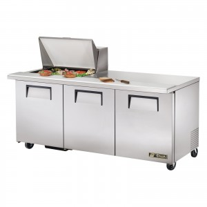 True TSSU-72-12M-B three-door sandwich prep table mega-top refrigerator
