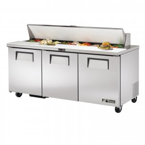True TSSU-72-18 three-door sandwich prep table refrigerator