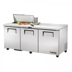 True TSSU-72-8 three-door sandwich prep table refrigerator