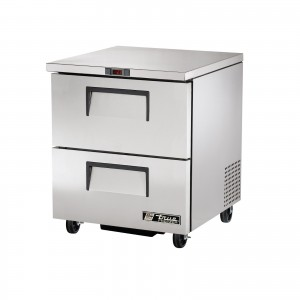 True TUC-27F-D-2 two-drawer under counter prep table freezer