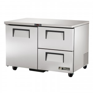 True TUC-48D-2 one-door two-drawer under counter prep table refrigerator