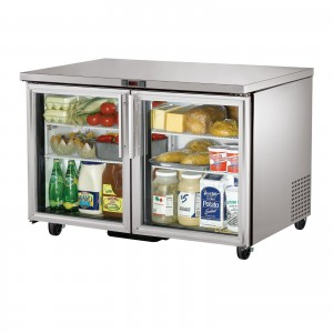 True TUC-48G two glass door under counter prep table refrigerator