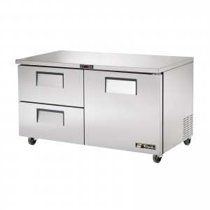 True TUC-60D-2 one-door two-drawer under counter prep table refrigerator