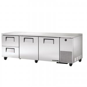 True TUC-93D-2 two-door two-drawer deep under counter prep table refrigerator