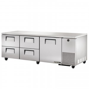 True TUC-93D-4 one-door four-drawer deep under counter prep table refrigerator