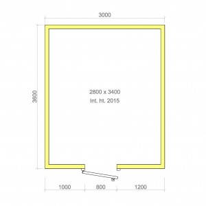 100mm walk in cold room with floor 2800mm x 3400mm x 2015mmh
