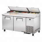 True TPP-67 two-door pizza prep table refrigerator