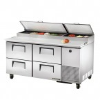 True TPP-67D-4 four-drawer pizza prep table refrigerator