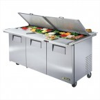 True TSSU-72-30M-B-DS-ST three-door dual-sided sandwich prep table refrigerator