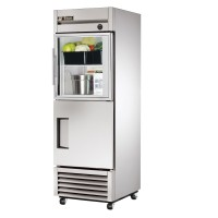 TRUE T-23-1-G-1 reach-in refrigerator, one glass half and one stainless steel half door