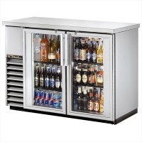 TRUE TBB-24-48G-S back bar compact cooler with stainless steel exterior and glass doors