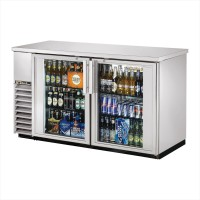 TRUE TBB-24-60G-S back bar compact cooler with stainless steel exterior and glass doors