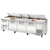 TRUE TPP-119D-2 pizza prep table drawered refrigerator