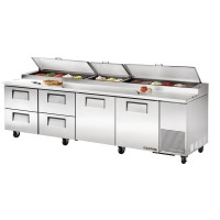 TRUE TPP-119D-4 pizza prep table drawered refrigerator