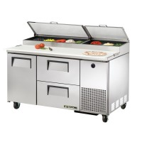 TRUE TPP-60D-2 pizza prep table drawered refrigerator