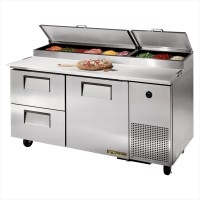 TRUE TPP-67D-2 pizza prep table drawered refrigerator