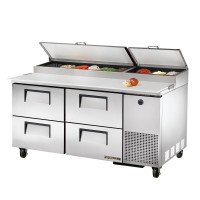 TRUE TPP-67D-4 pizza prep table drawered refrigerator
